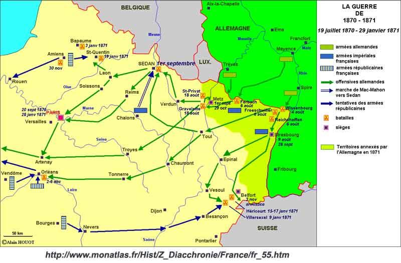 Mapa general de la Guerra franco-prusiana (pincha para ampliar)