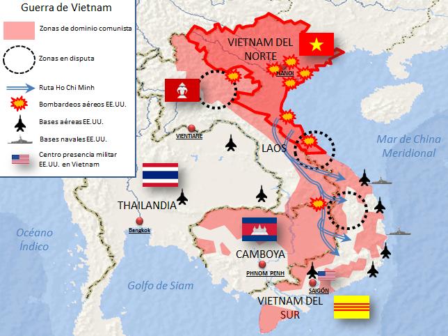 Mapa general de la Guerra de Vietnam (pincha para ampliar)