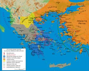 Mapa de las Guerras Médicas (pincha para ampliar)