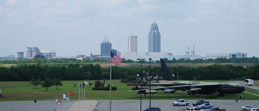 Vista desde el USS Alabama de B52 y Mobile (©goyix_salduero)