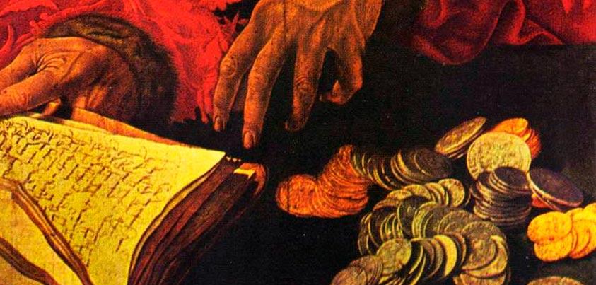 Detalle de 'Los dos prestamistas' de Marinus van Reymerswale