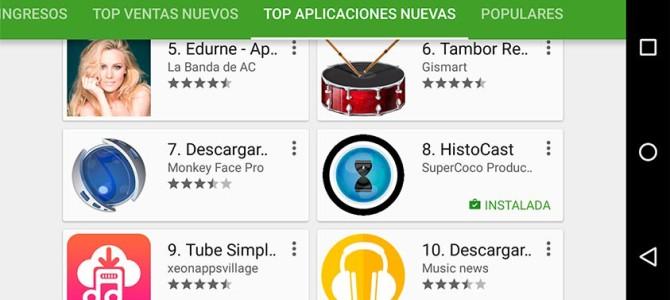 HistoCast en el top ten de apps nuevas