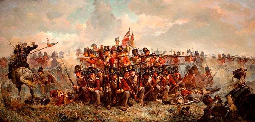 Cuadros de infantería aliada en Waterloo