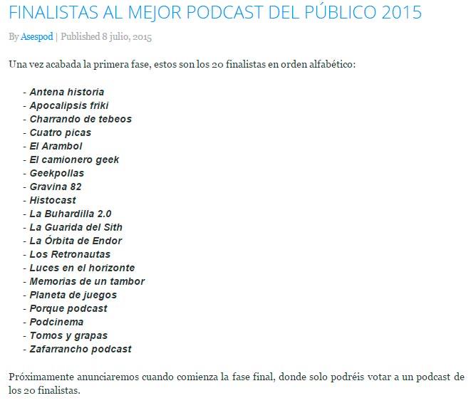 Lista de los 20 podcast más votados por los oyentes en 2015