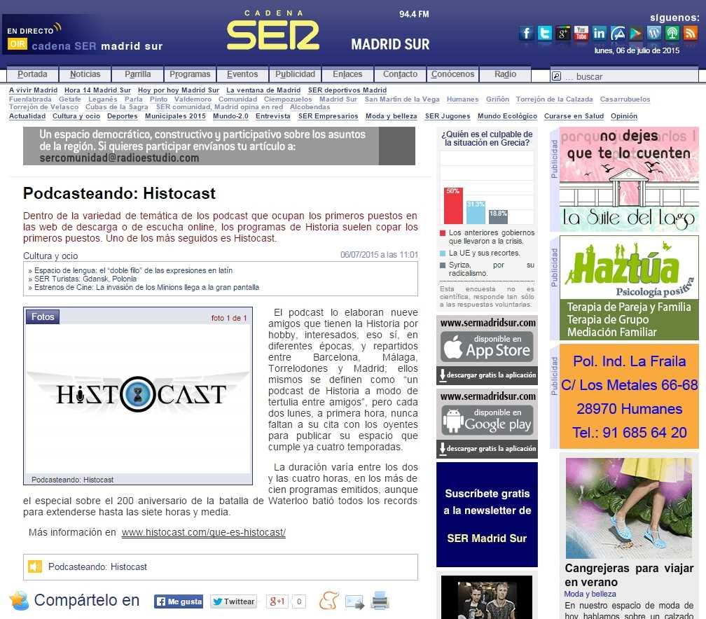 HistoCast en la SER Madrid Sur