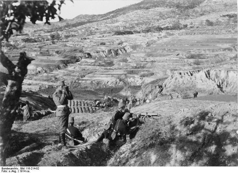 Batería alemana en Tsingtao en el monte Bismarck