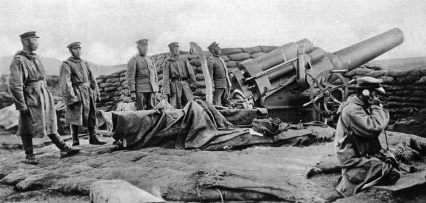 Artillería japonesa en Tsingtao 1914