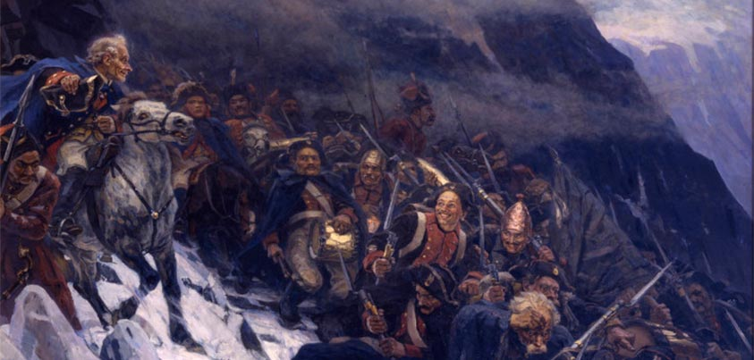 Suvorov y sus tropas cruzando los Alpes