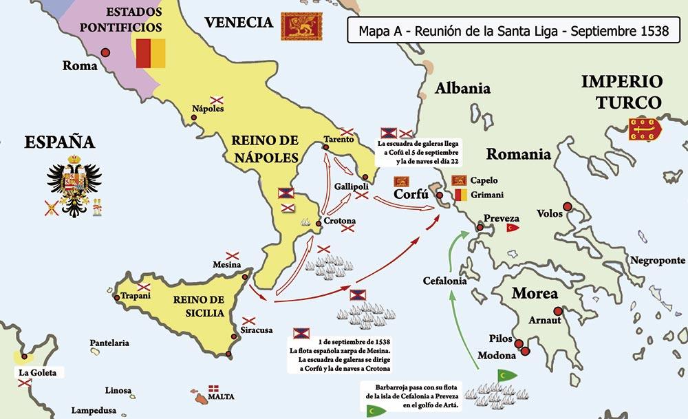 Mapa de los movimientos de las flotas hacia Preveza