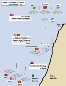 Disposición y primeros movimientos en la batalla de Preveza
