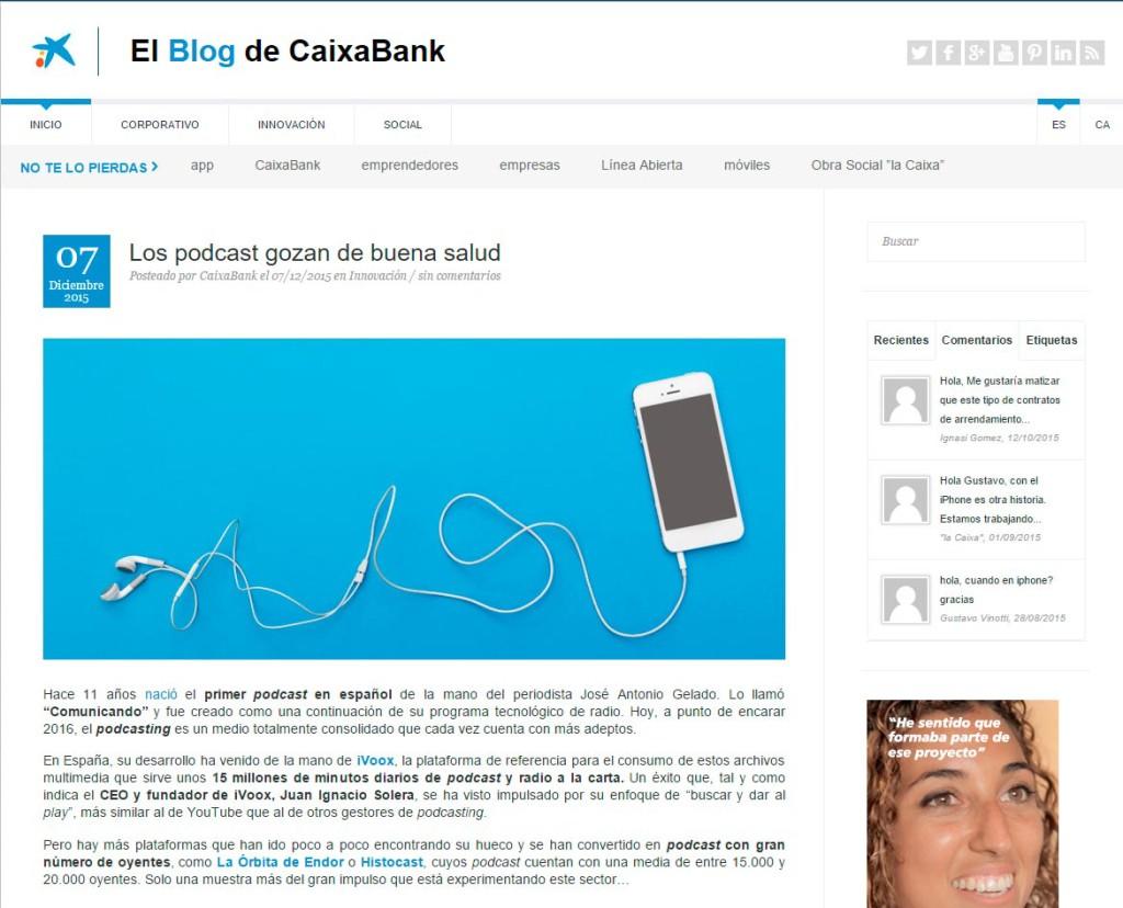 Artículo sobre podcast en el blog de Caixabank