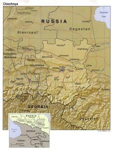 Localización y mapa de Chechenia (pincha para ampliar)
