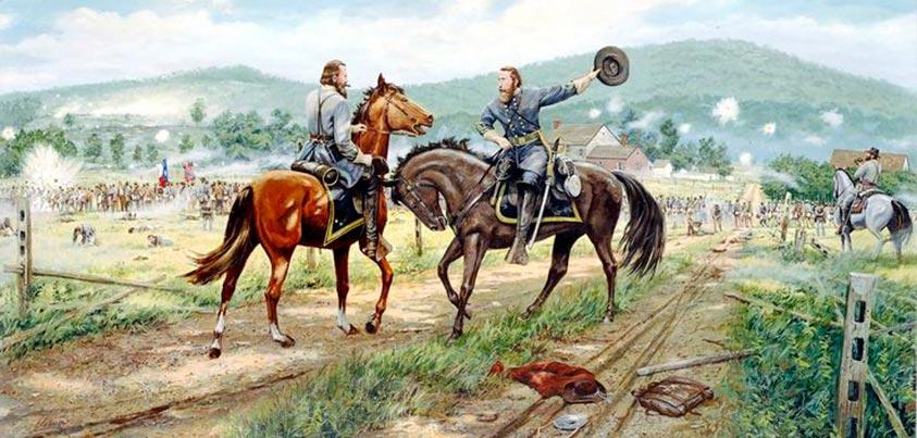 Comunicación sudista con Gettysburg y Cementery Hill al fondo