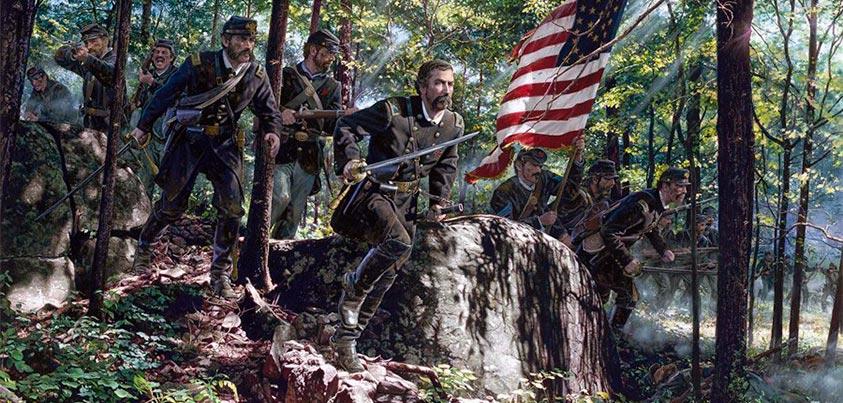 Unionistas cargando cuesta abajo en Gettysburg