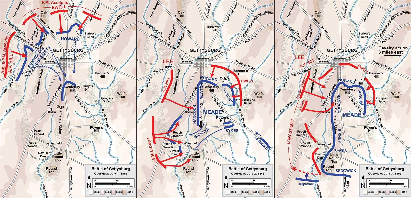 Mapa de la batalla de Gettysburg (pincha para ampliar)