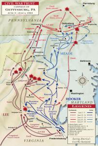 Mapa de la campaña de Gettysburg (pincha para ampliar)