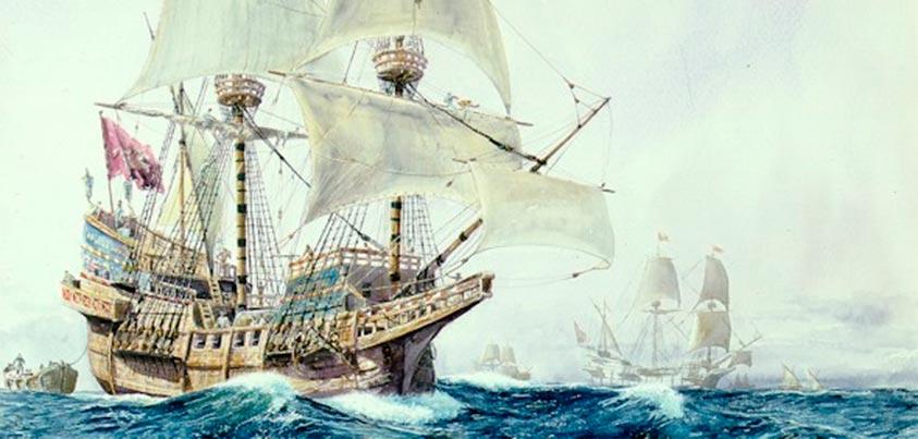 Galeón San Martín (acuarela de Guillermo González de Aledo)