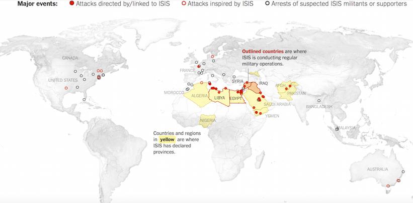 Ataques y zonas de influencia del DAESH