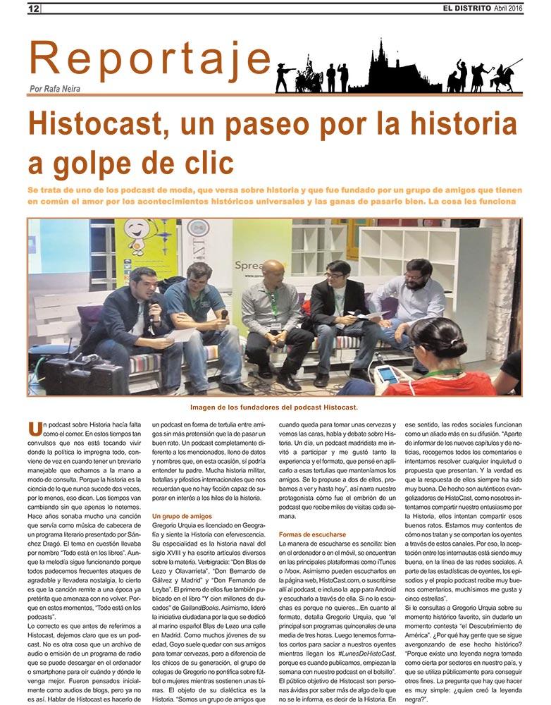 Reportaje sobre HistoCast en el diario El Distrito (clic para ampliar)