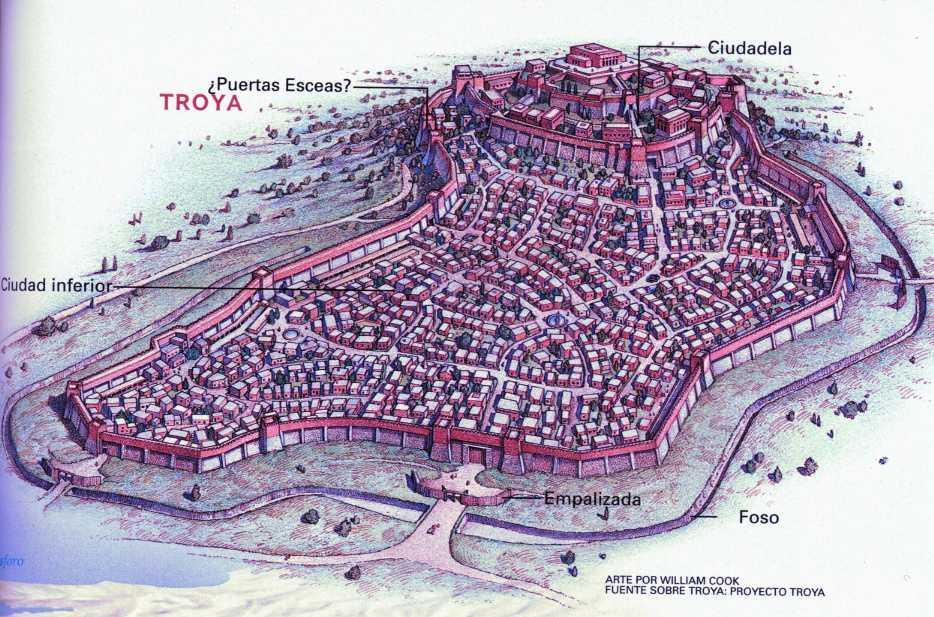 Reconstrucción de la ciudad de Troya homérica