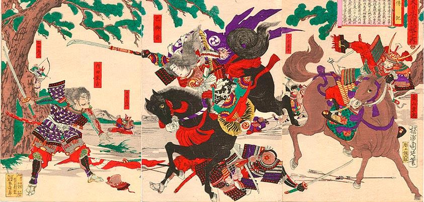 Samurai hombre y mujer combatiendo en las Guerras Genpei