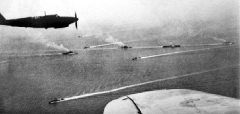 Flota británica durante la batalla de Matapán en el Mediterráneo