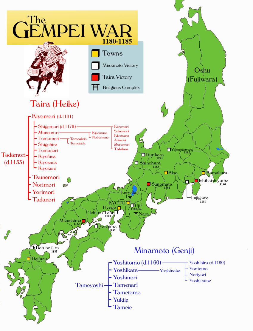 Mapa de la Guerra Gempei (click para ampliar)