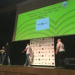 Miembros de HistoCast subiendo al escenario en la entrega del premio del público al Mejor Podcast 2016 de ASESPOD