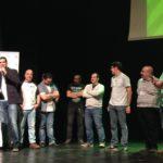 Miembros de HistoCast en la entrega del premio del público al Mejor Podcast 2016 de ASESPOD