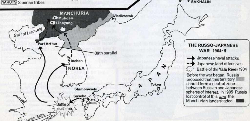 Mapa de la Guerra ruso-japonesa (clic para ampliar)