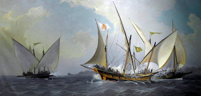 Antonio Barceló, con su jabeque correo, rechaza a dos galeotas argelinas (1738)