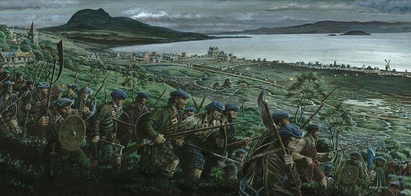Highlanders aproximándose a Prestonpans para combatir a los ingleses