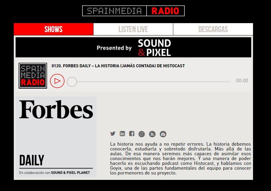 HistoCast en el programa Forbes Daily de Spainmedia Radio