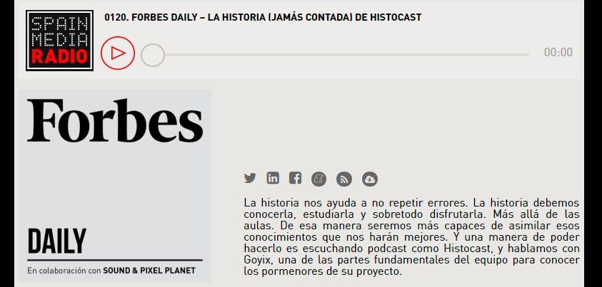 HistoCast en Forbes Daily de Spainmedia Radio