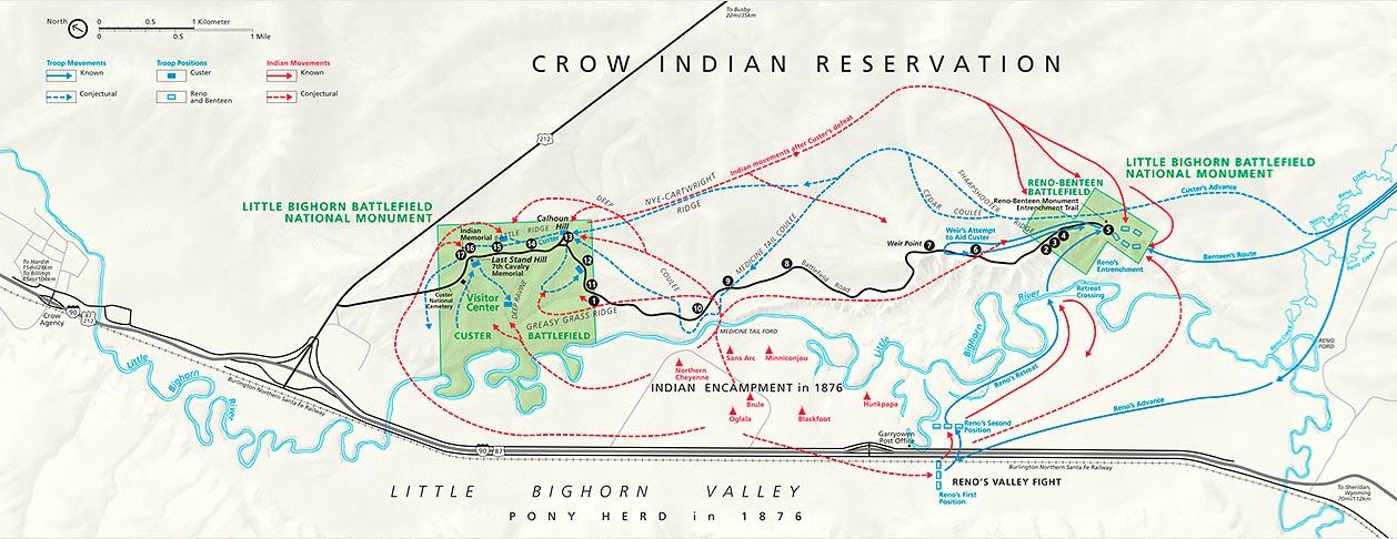 Mapa de campo de batalla de Little Bighorn en la actualidad