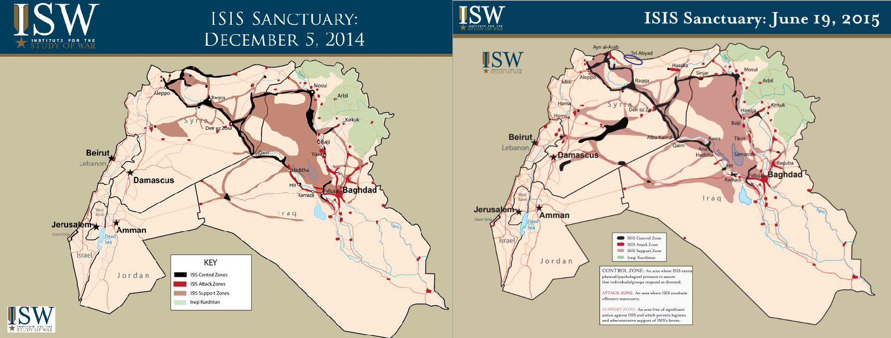 Mapas del ISIS y su evolución territorial