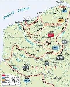Mapa de las acciones hasta Dunkerque (clic para ampliar)