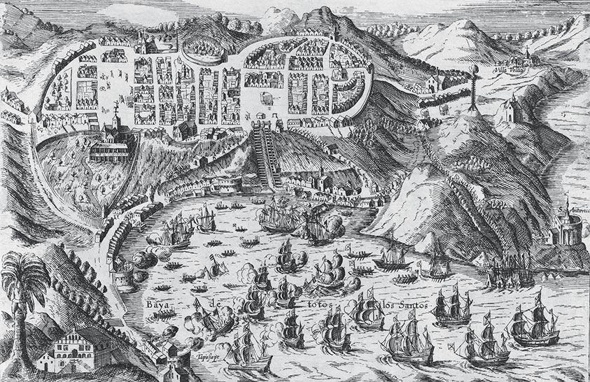 Grabado de la reconquista de Salvador de Bahía en 1625
