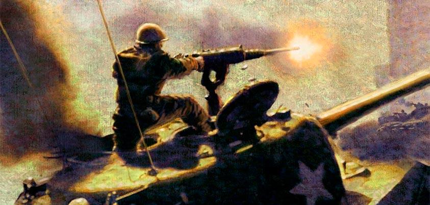Blanco Dávila haciendo fuego sobre el tanque en llamas