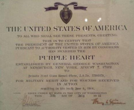 Imagen del diploma de concesión del corazón Púrpura.
