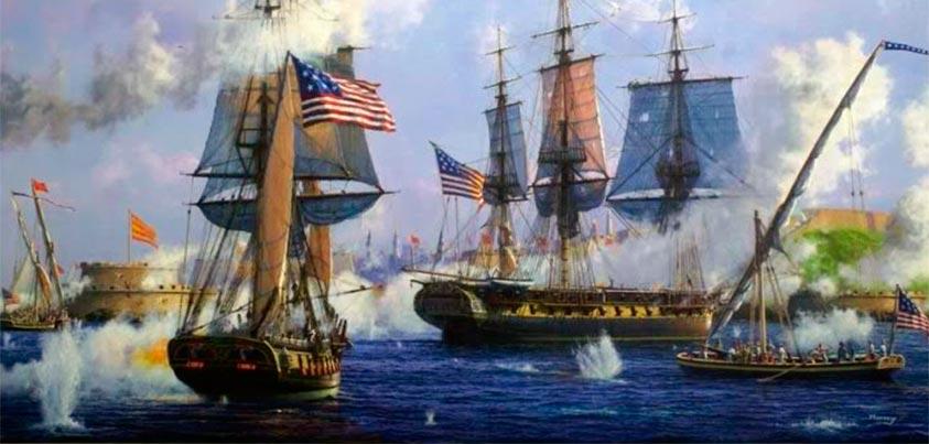 La US Navy bombardeando Tripoli durante la I Guerra Berberísca