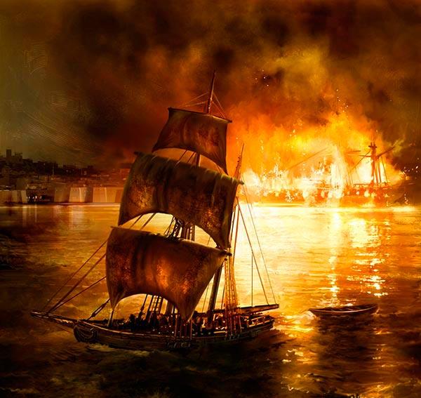 El USS Philadelphia es pasto de las llamas en el puerto de Tripoli