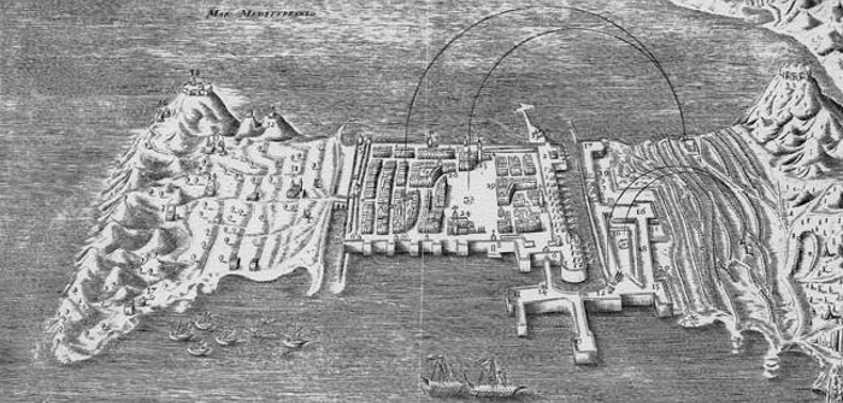 Plano de Ceuta y sus defensas durante el sitio de 30 años