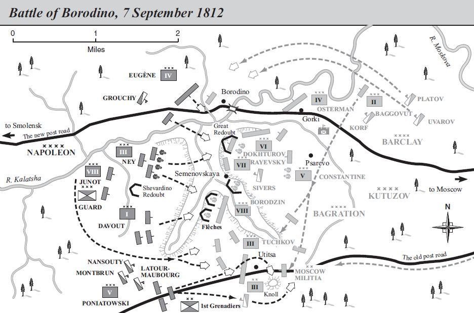 Mapa de la batalla de Borodinó (clic para ampliar)