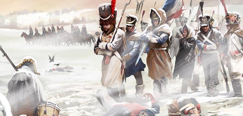Tropas francesas retirándose de Rusia en 1812