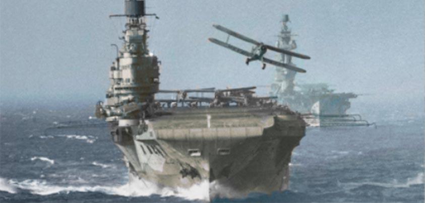 Biplanos despegando de un portaaviones en el Mediterráneo